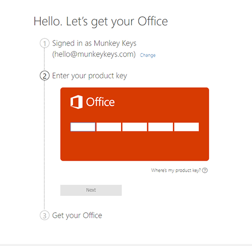 Redeem Microsoft Office Product Screen