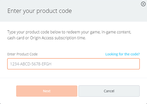 Enter Origin Activation Code Prompt